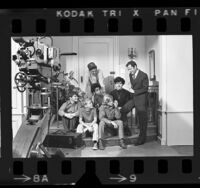 "Actors Jack Klugman and Tony Randall meeting boys from Big Brothers of America on the set of ""The Odd Couple,"" 1970"