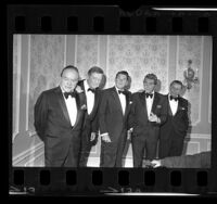 Bob Hope, John Wayne, Dean Martin and Frank Sinatra with Ronald Reagan at a campaign dinner for Reagan's re-election, Calif.,  1970
