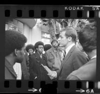 William S. Banowsky, chancellor of Pepperdine College, speaking to black student demonstrators, 1970