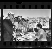 Group of eighteen-year-old students registering to vote at Westchester High School, Los Angeles, Calif., 1971