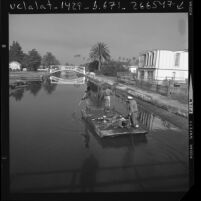 Three city employees on gondola-barge retrieving debris from the canals in Venice, Calif., 1971