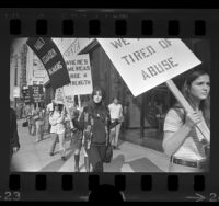 Wives of San Diego tuna fishermen picketing the Ecuadorian consulate office, Los Angeles, 1971