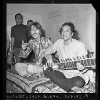 Musicians Ravi Shankar and George Harrison in Los Angeles, Calif., 1967