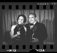 Actors Valerie Harper and Edward Asner, posing with their Emmys, 1971