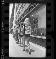 Striking Western Union employees picketing an office in Los Angeles, Calif., 1971