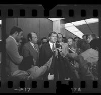 Egil (Bud) Krogh Jr. talking to reporters at Los Angeles County Courthouse, 1973
