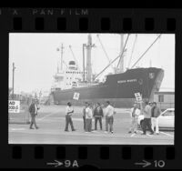Members of the International Longshoremen's and Warehousemen's Union picketing at San Pedro, Calif., 1972