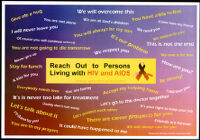 Reach out to persons living with HIV and AIDS [inscribed]
