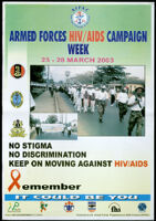 No stigma, no discrimination. Keep on moving against HIV/AIDS [inscribed]
