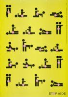 Twenty stick figures stop AIDS poster [descriptive].