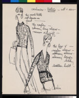 """Cashin's illustrations of sweater designs for Ballantyne of Peebles titled """"Cashmere cut and sew."""""""