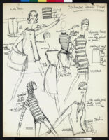 """Cashin's illustrations of sweater designs for Ballantyne of Peebles including group labeled """"Cashmere travel plot."""""""