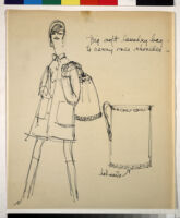 Cashin's illustrations of handbag designs for Coach (handbags shown on models).