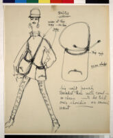 Cashin's illustrations of handbag designs for Coach (handbags shown on models).