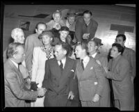 Actors boarding TWA plane for A.F.L. council meeting concerning American Federation of Actors, Los Angeles, Calif., 1944