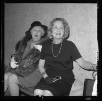 Silent film actresses Betty Blythe and Claire Windsor awaiting to testify in divorce trial of Corinne Griffith in Los Angeles, Calif., 1966