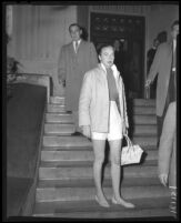 Actress Marquerite Chapman after release from jail in Los Angeles, Calif., 1958