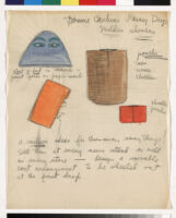 Cashin's essays and illustrations regarding design ideas for paper accessories including handbags, umbrellas, and slippers.