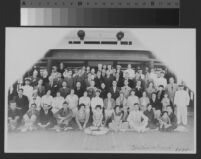Group portrait, passengers and crew, on board Chichiba-Maru voyager to Tokyo, 1935