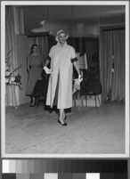 Black and white photographs of Cashin's ready-to-wear designs for Adler and Adler and Sills and Co. modeled at various fashion shows.