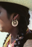 Guelaguetza[?], earring close-up disk and square [view 1], 1982 or 1985