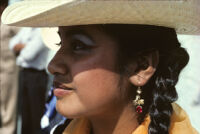Guelaguetza[?], earring with red stone close-up [view 1], 1982 or 1985