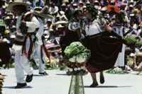 San Antonino Castillo, stacked food and dancers, 1985