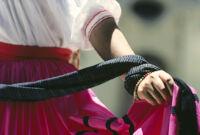 Ejutla de Crespo, hand holding skirt close-up, 1982