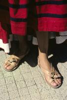 Ejutla de Crespo, leather sandals close-up, 1982