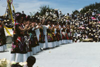 Tehuantepec, dancers standing in row applauding, 1985