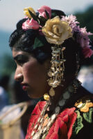 Tehuantepec, flowers decorating woman's hair close-up, 1982 or 1985