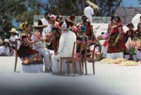 Juchitan, dancers sitting in chairs, 1982 or 1985