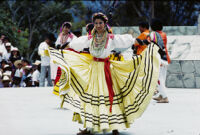 Ejutla de Crespo, woman dancer with yellow skirt held out, 1985