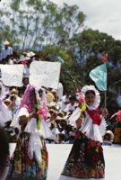 Juchitan, women holding flags, 1982 or 1985