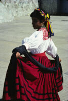 Ejutla de Crespo, female dancer in red skirt, 1985