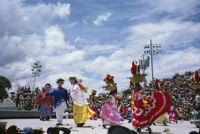 Chines de Oaxaca, puppets and women dancing [blurred], 1982