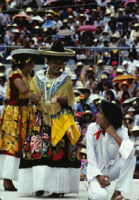 Tehuantepec, girl in gala dress, wearing partner's hat, 1982