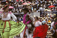 Ejutla de Crespo, dancers with green and red skirts, 1982