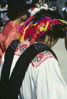 Ejutla de Crespo, back view of woman dancer close-up, 1982