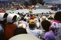 Ejutla de Crespo, spectators watching dancers on stage, 1982