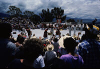 Juchitan, performers throwing gifts to spectators, 1982 or 1985