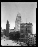 Los Angeles County Courthouse, Hall of Records with City Hall in background, circa 1928