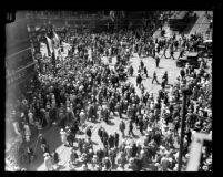 Los Angeles City Hall dedication, crowd in streets, 1928