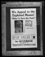 """We Appeal to the Exploited Masses!"" [photograph of poster], Upton Sinclair, 1934"