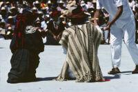 Mixistlán, performers kneeling, 1985
