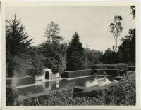 Wright Saltus Ludington residence, view of oval reflecting pool, Montecito, 1931