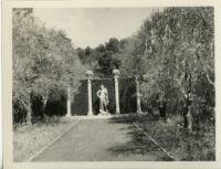 Wright Saltus Ludington residence, Lansdowne Hermes statue at end tree-bordered lawn, Montecito, 1931