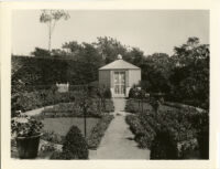 Dr. and Mrs. P. G. White residence, view of cutting garden with parterre beds and lath house, Los Angeles, 1934