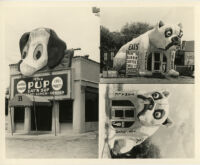 Pup Eat'N Sup and café in shape of bulldog, Los Angeles, Calif., and Alhambra, Calif., 1932