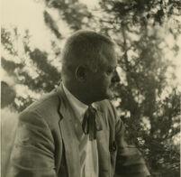 Kenneth Rexroth, portrait in profile, circa 1960